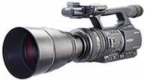 Raynox teleoptik på en HD-videokamera